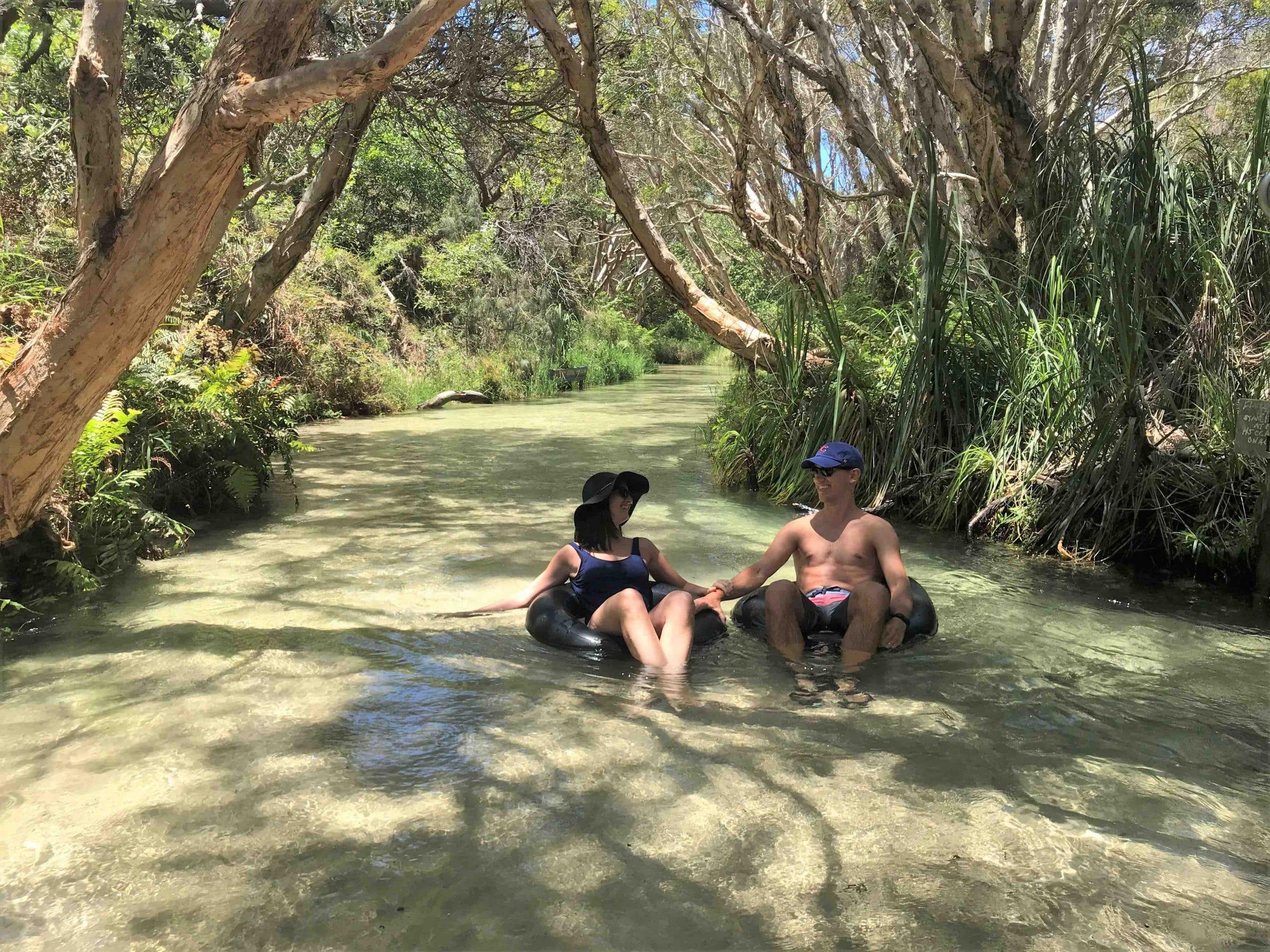 People on Eli Creek on Fraser Island