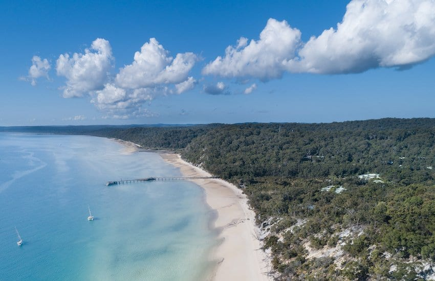 Aerial view of coastline of Fraser Island