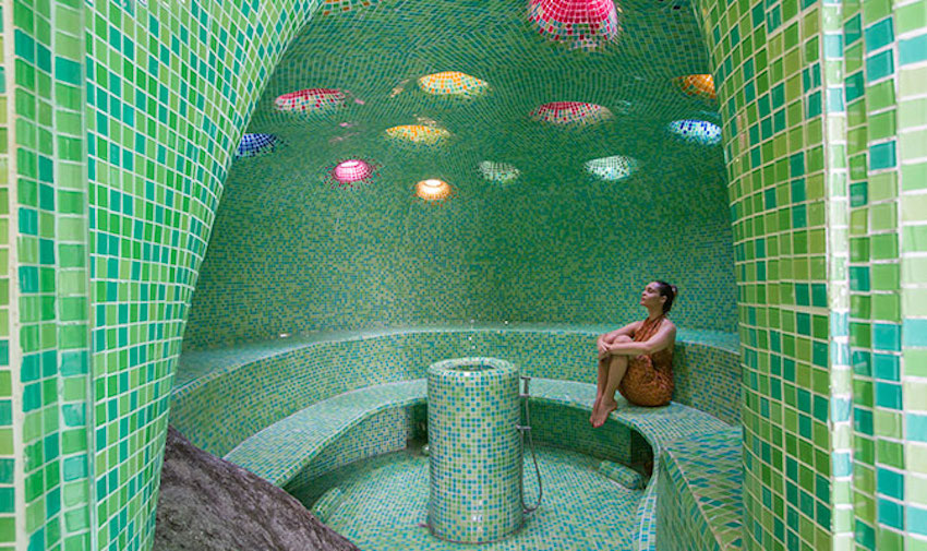 A steam room at a day spa